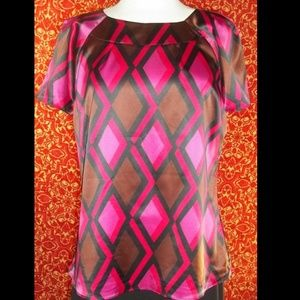 NEW JM COLLECTION magenta blouse 12 w/DEFECT